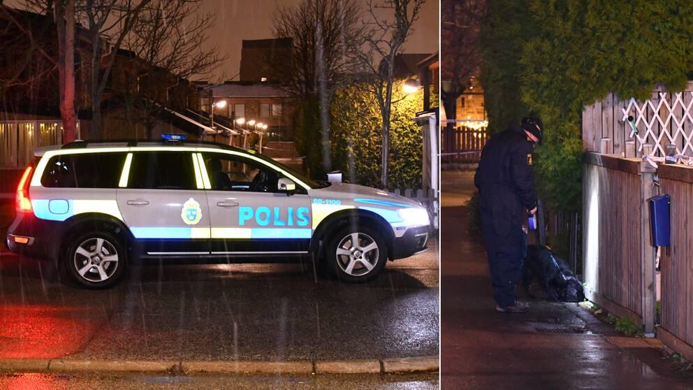 Polisen som letar med hundar i området efter skottlossningen.