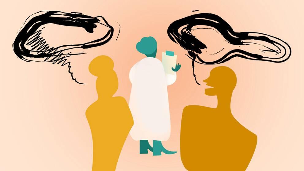 En illustration av en läkare och två patienter