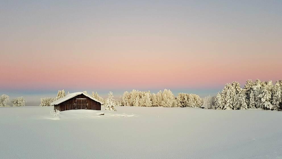 Pastellfärgad himmel möter snöklätt landskap med en röd lada placera till vänster.