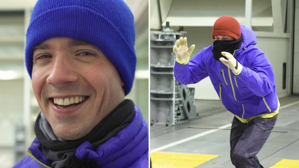 SVT:s meteorolog Nils Holmqvist. Till höger reportern Torbjörn Averås Skorup i stark vind med halsduken över ansiktet.