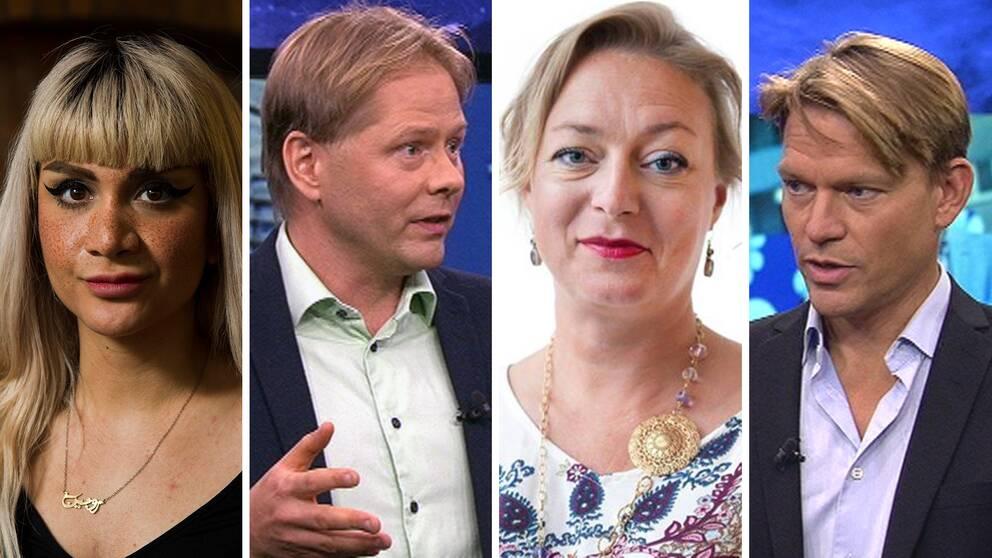 Från vänster: Rojin Pertow, chefredaktör Galago, Anders Lindberg, politisk chefredaktör Aftonbladet, Sofia Nerbrand, ledarskribent Dagens Nyheter, PM Nilsson, politisk redaktör Dagens Industri.