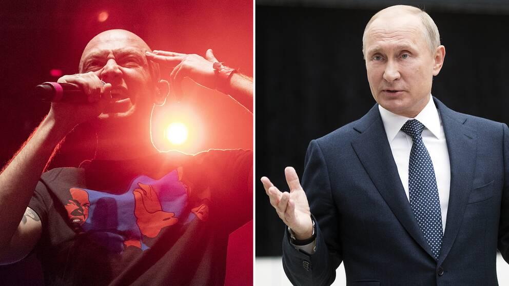 Rysslands president Vladimir Putin vill ta kontroll över rapmusiken i landet. På den bilden till vänster syns den ryske rapparen Oxxxymiron (Miron Fyodorov) under en stödkonsert för rapparen Husky som nyligen dömdes till fängelse.
