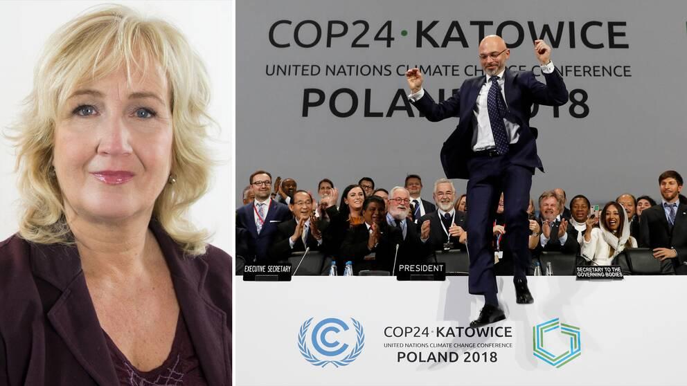 SVT:s utrikeskommentator Erika Bjerström. Till höger klimatmötets ordförande Michal Kurtyka jublar efter mötets avslut.