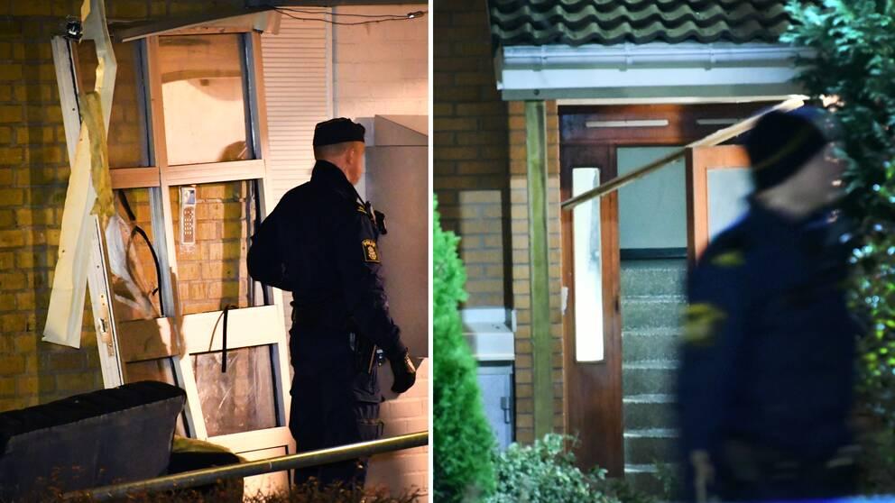 Polisen på plats vid de två explosioner som ägde rum på två olika adresser i Malmö, inom loppet av några timmar under söndagskvällen och natten mot måndag.