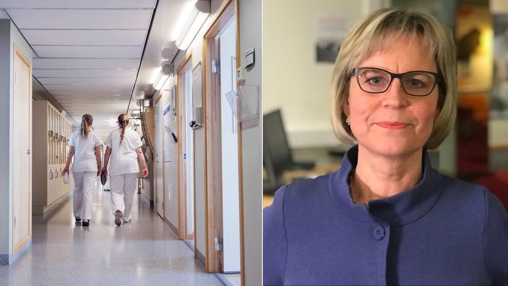 Bild på en sjukhuskorridor till vänster. Till höger Ulrika Landström, e-hälsostrateg.