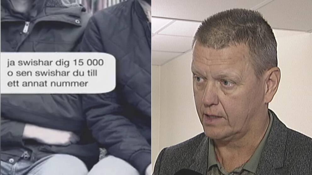 Ett skärmklipp från polisens informationsfilm. Bilden föreställer en sms konversation om att swisha pengar. Till höger en bild på Leif Lexon, chef bedrägeribrott i örebro län.