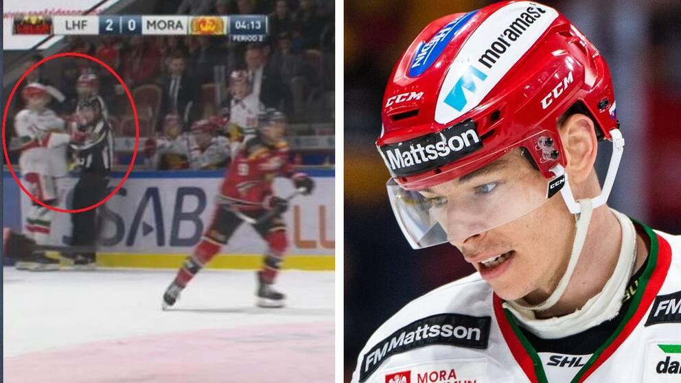 Mora-spelaren Marek Daloga knuffade domaren och fick matchstraff i mötet med Luleå.