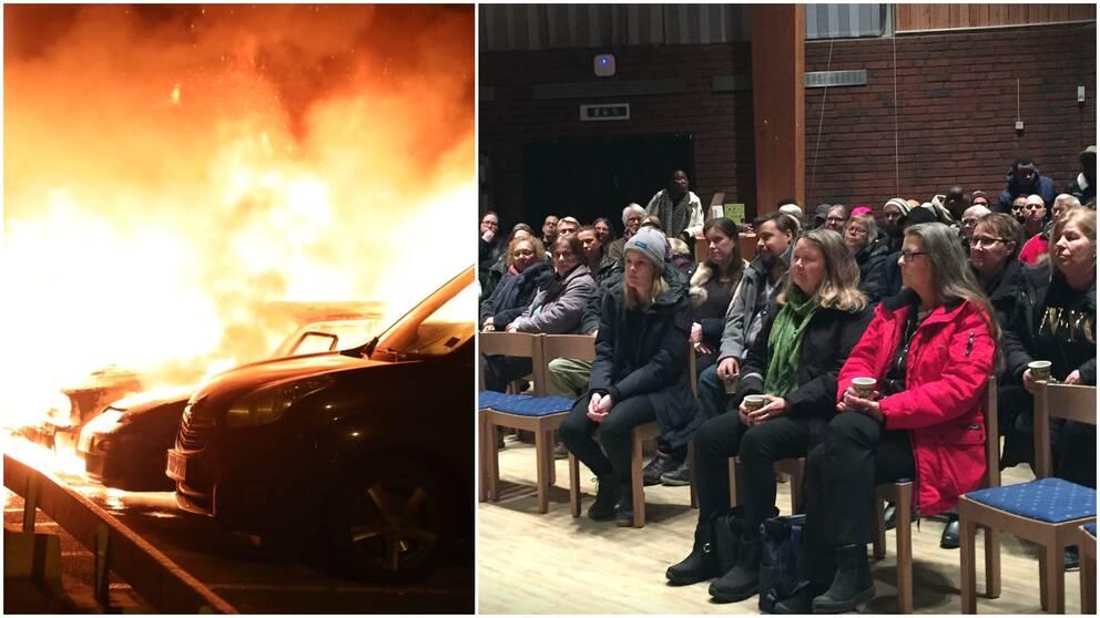 bild på brinnande bilar, samt personer sittande i samlingslokal