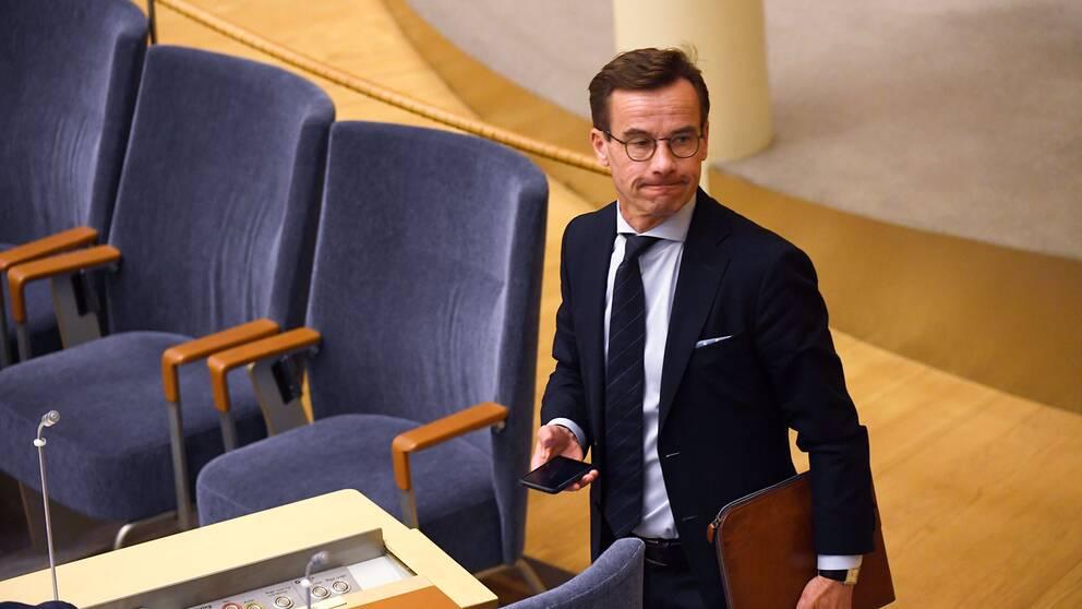 Moderaternas partiledare Ulf Kristersson (M) efter statsministeromröstningen i riksdagen.