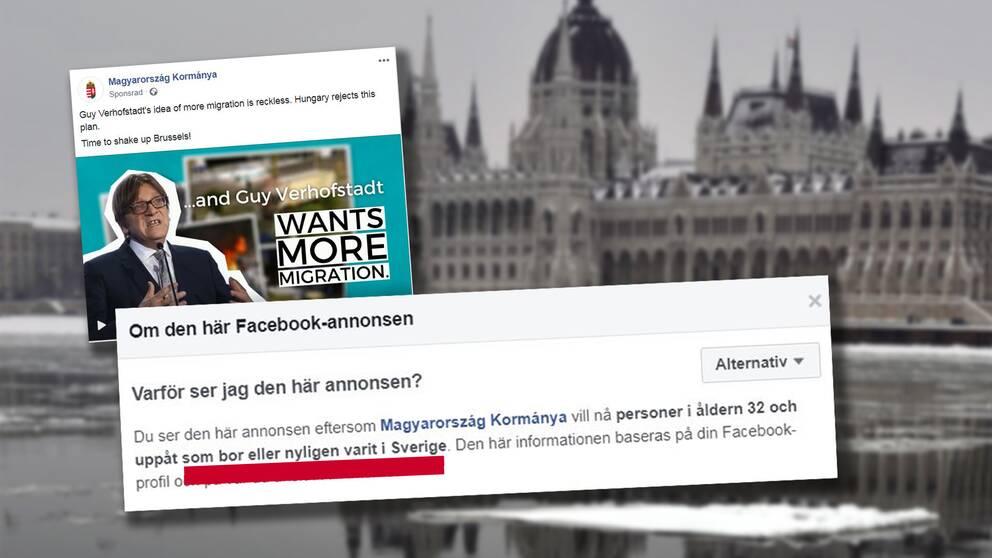 Ungerns parlament, och en Facebookpost.