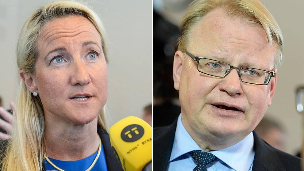 Försvarsberedningens ordföranden Cecilia Widegren och S-representanten Peter Hultqvist