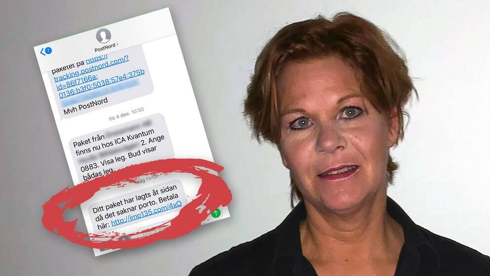 74ebf9412d41 Anna Stenberg varnar andra för sms:en som ser ut att komma ifrån Postnord.  Foto: Privat