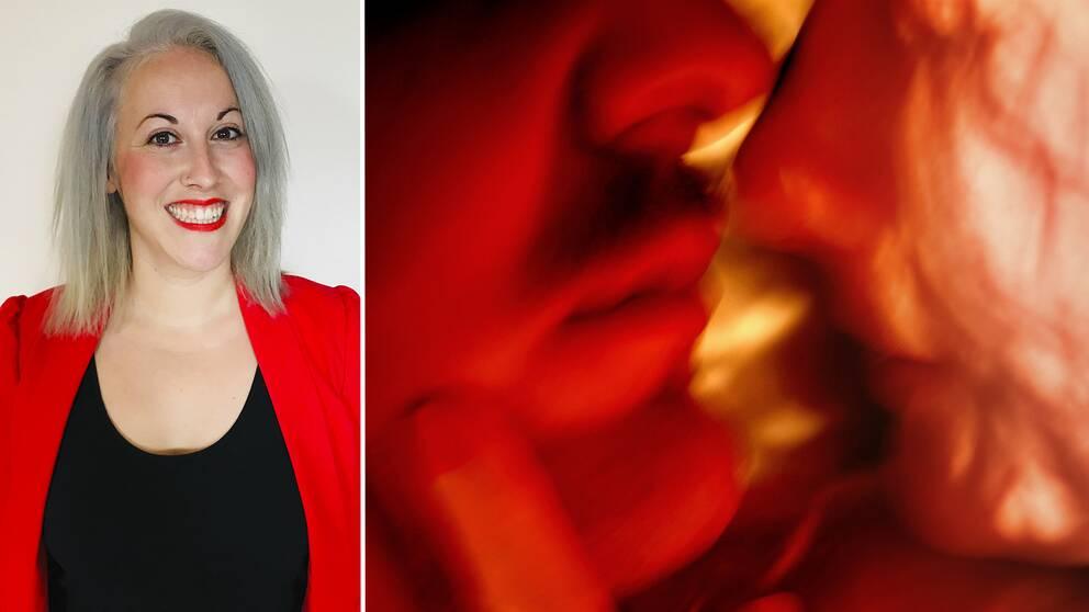 """""""Porrdebatten måste bli mer nyanserad"""". Det säger sexologen Katerina Sparr Holinkova. På bilden syns hon och ett par som kysser varandra."""