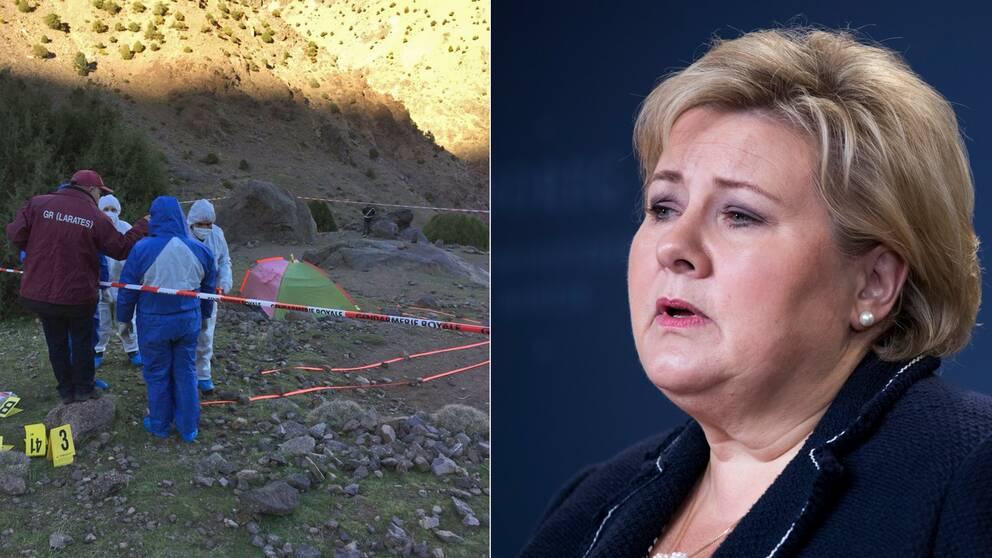 Den norska statsministern Erna Solberg ber människor att inte ladda ner eller sprida den video som påstås visa morden.
