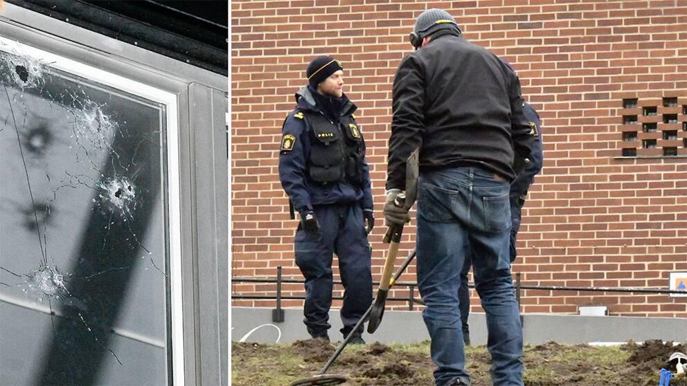 Fönster med skotthål samt polis
