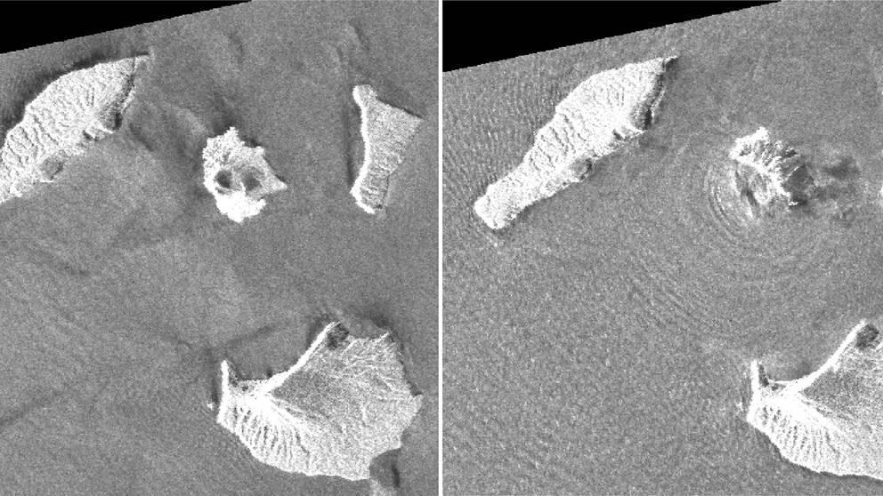 Vulkanen Anak Krakatoa syns i mitten av bilderna, den till vänster är tagen i augusti och den till höger på julafton.