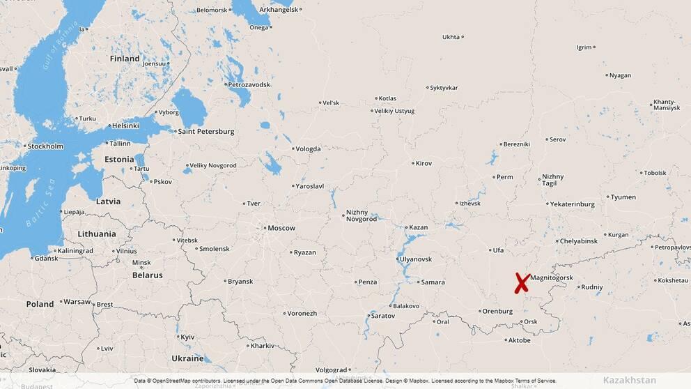 Enligt den statliga nyhetsbyrån Ria har 48 lägenheter skadats i olyckan. På bilden syns en karta över Ryssland.