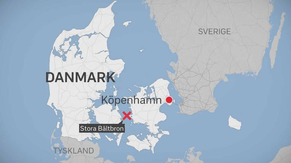 Olyckan inträffade på Stora Bältbron mellan Själland och Fyn