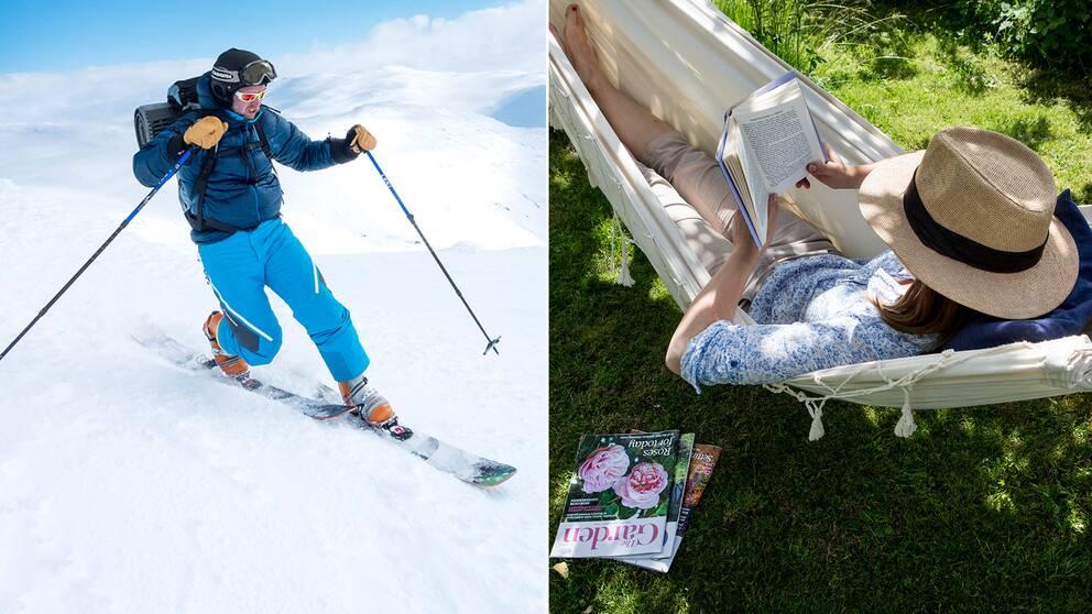 En man som åker skidor och en kvinna som läser en bok i en hängmatta.