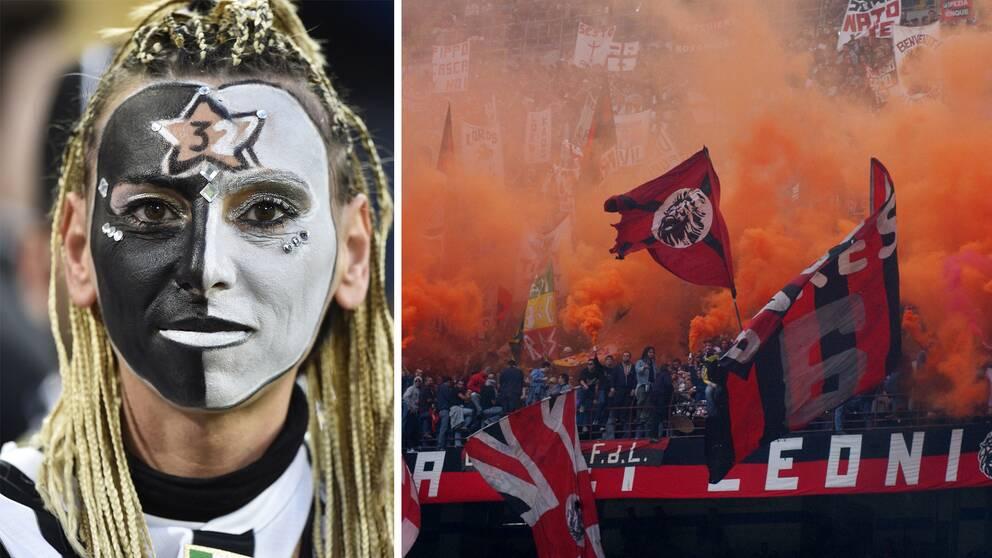 En kvinnlig Juventus-supporter och supportrar från Milan.