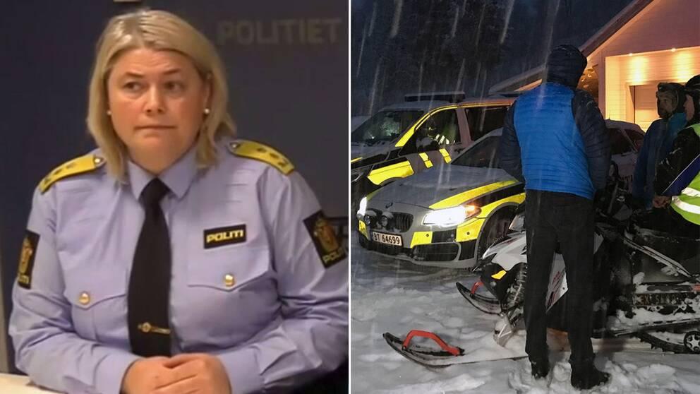 Norska polisen: För farligt att skicka in folk i skredområdet