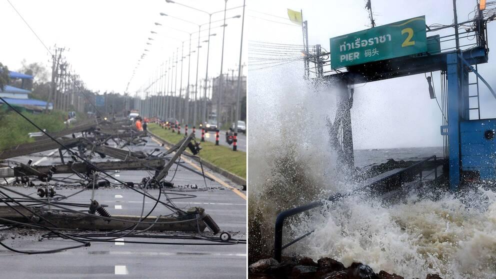 Elledningar har rivits ner och hamnpirar har översvämmats