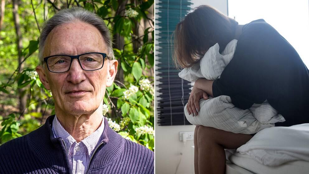 Töres Theorell, professor på Stressforskningsinstitutet, och en kvinna på en säng som kramar kuddar