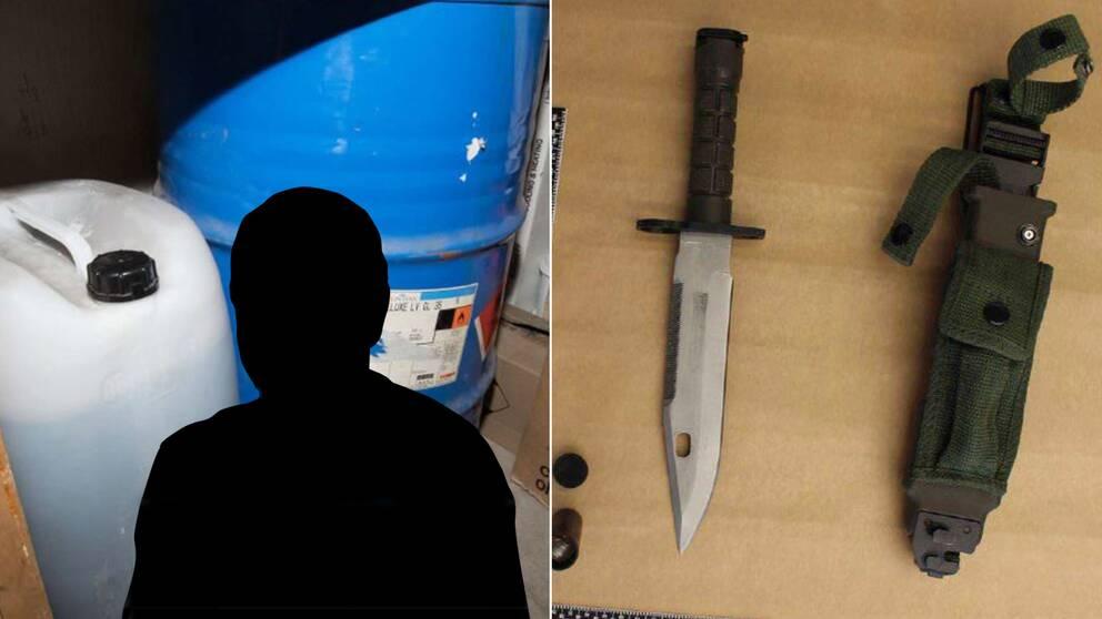 två bilder: plastdunk och metallunna med en manssilhuett ovanpå, samt en kniv och knivfodral