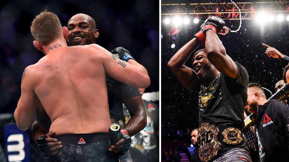 Alexander Gustafsson och Jon Jones under titelmatchen i Los Angeles den 29 december.