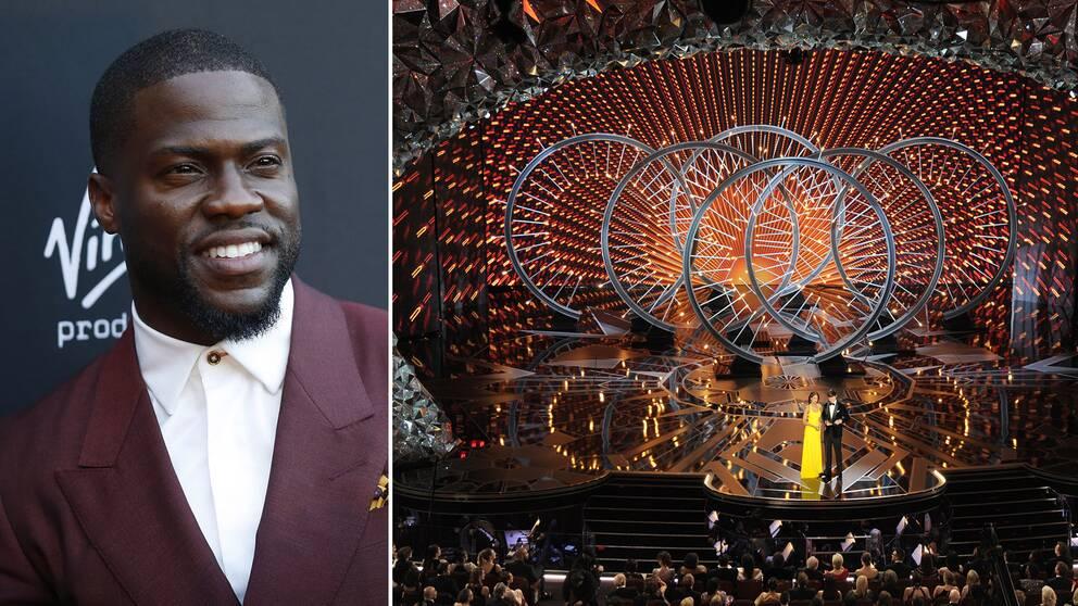 Kevin hart och en bild från förra årets Oscarsgala.