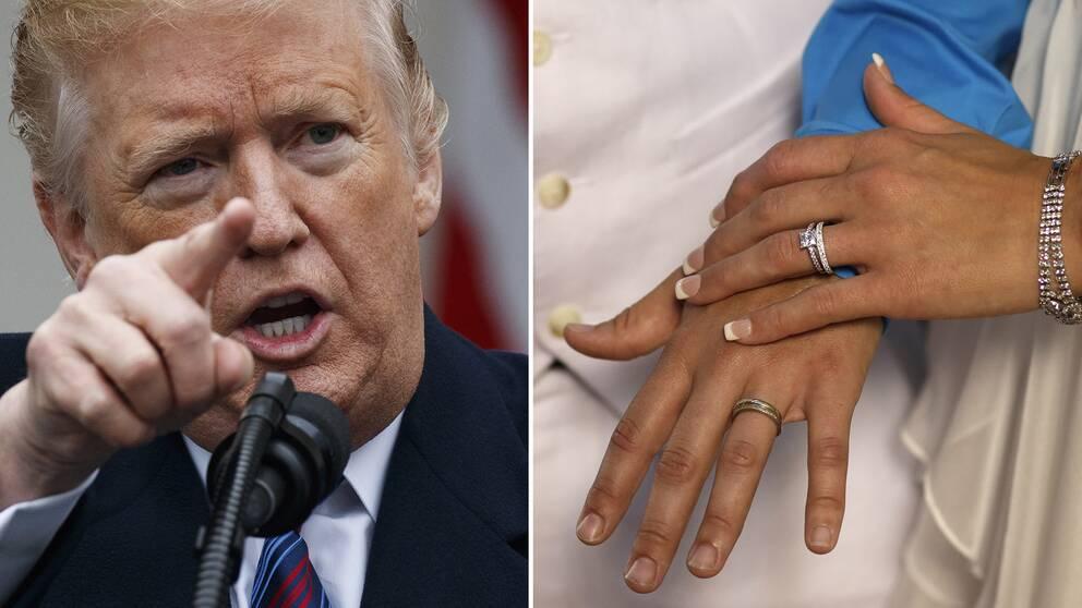 Donald Trump och ett par som gifter sig.
