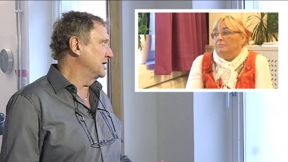 På bilden ser man SVT:s reporter och rektorn Riitta Paananen.