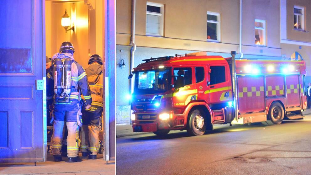 Boende i närheten vittnar om en kraftig smäll då en dörr sprängdes i Norrköping.