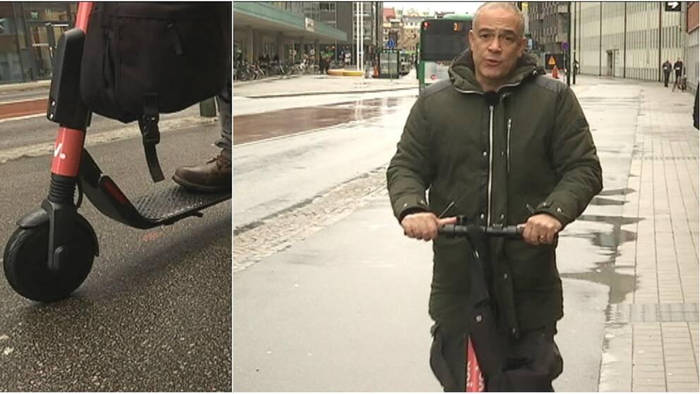 SVT:s reporter testar el-scooter. Nu säger kommunen att de kan tvingas se över en reglering av transportmedlet.