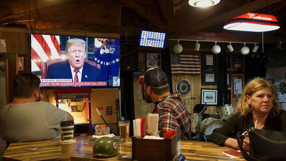 Donald Trumps tal sändes direkt på bästa sändnings tid på de stora amerikanska tv-kanalerna.