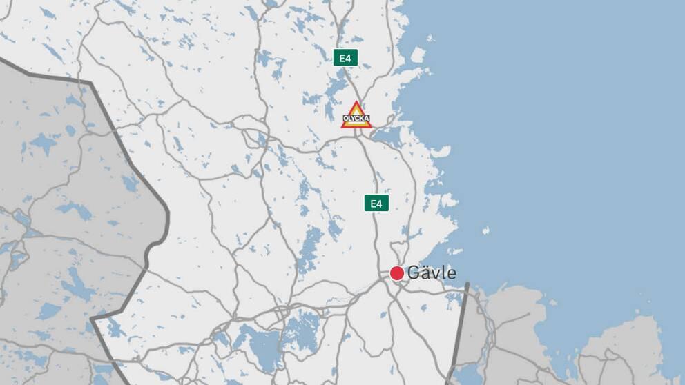 En karta över delar av Gävleborg där Gävle, E4:an och olycksplatsen finns utplacerad