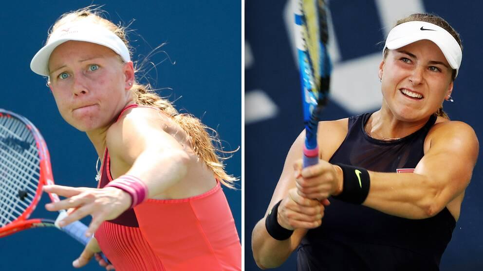 Svenska tennisstjärnorna Johanna Larsson (vänster) och Rebecca Peterson (höger).