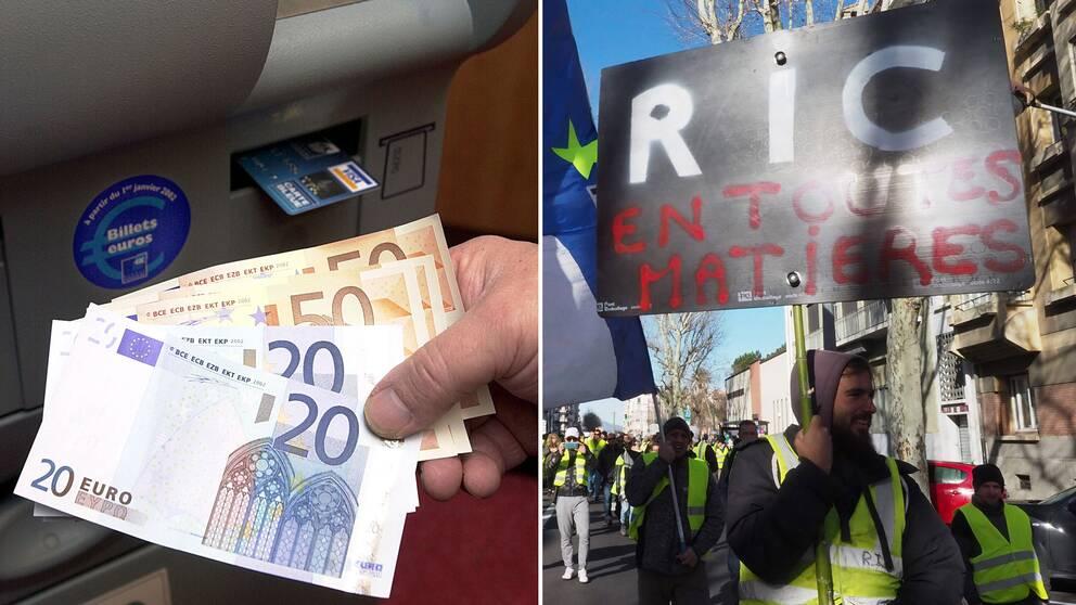 Eurosedlar i en bankomat och demonstranter vid ett tidigare tillfälle i sydfranska Perpignan