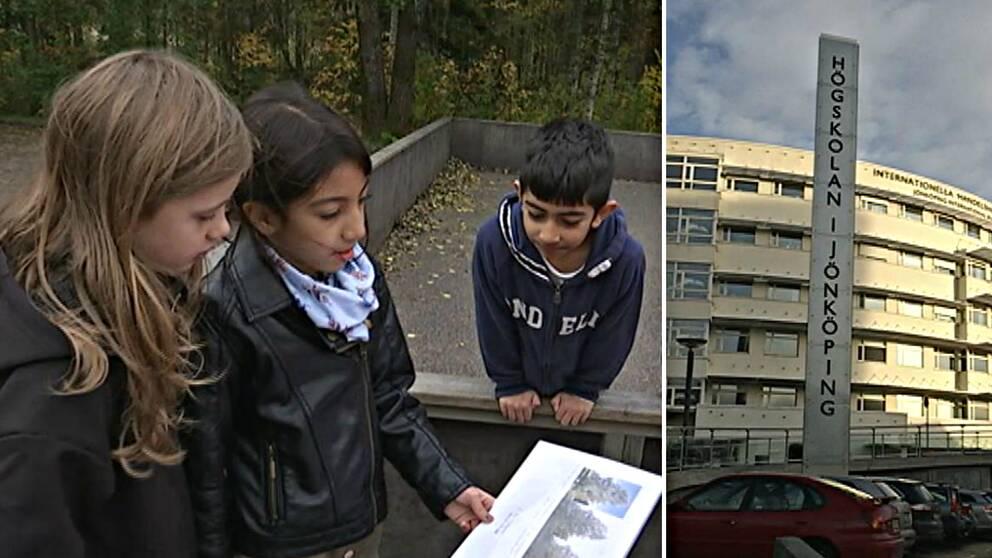 barn kollar naturbilder utomhus och bild på Högskolan i Jönköping
