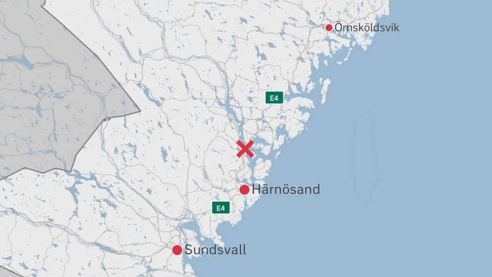 En karta över delar av Västernorrland där Högakustenbron är utplacerad.