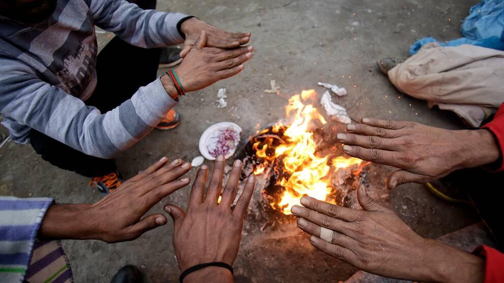 Tre män värmer sina händer över en öppen eld i ett läger i Velika Kladuša.