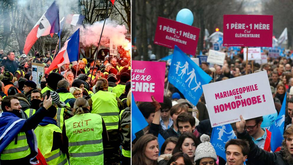 Gula västar i Paris och demonstranter i Manif pour tous 2013