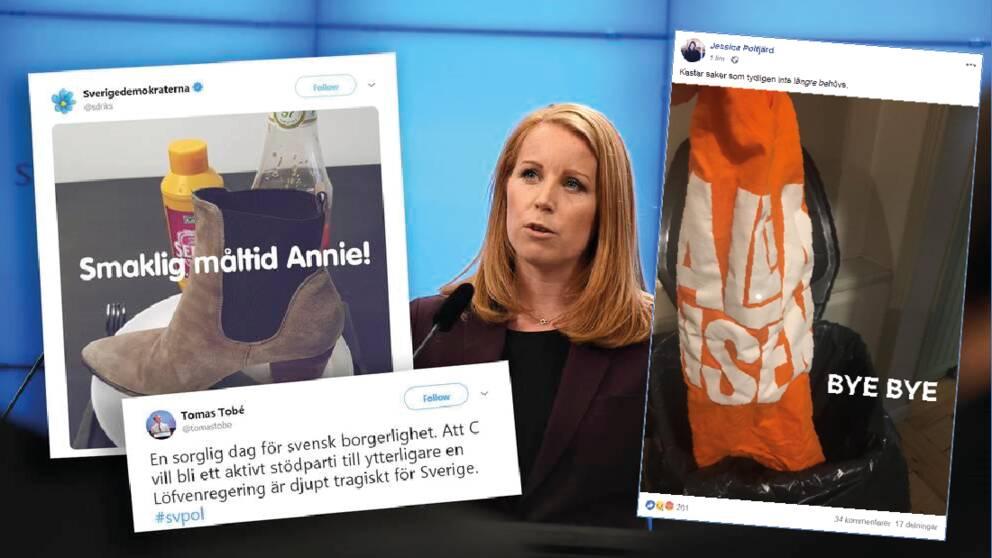 Många hårda reaktioner följde på C-ledaren Annie Lööfs beskedet i regeringsfrågan.