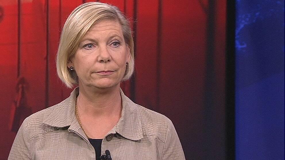 Karin Hector-Stahre som är chef för prov- och bedömningsenheten på Skolverket i Aktuellt.