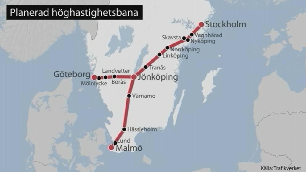 karta över höghastighetsbanan från Stockholm till Jönköping där den delar sig mot Göteborg respektive Malmö