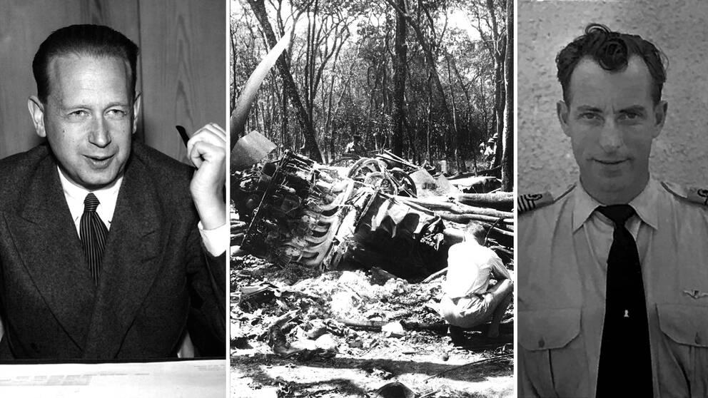 FN:s generalsekreterare, svenske Dag Hammarskjöld, omkom 1961 när planet han reste med på väg mot staden Ndola störtade – nu påstås att piloten och legoknekten Jan van Risseghem (till höger) erkänt för vänner att han dödat Hammarskjöld.