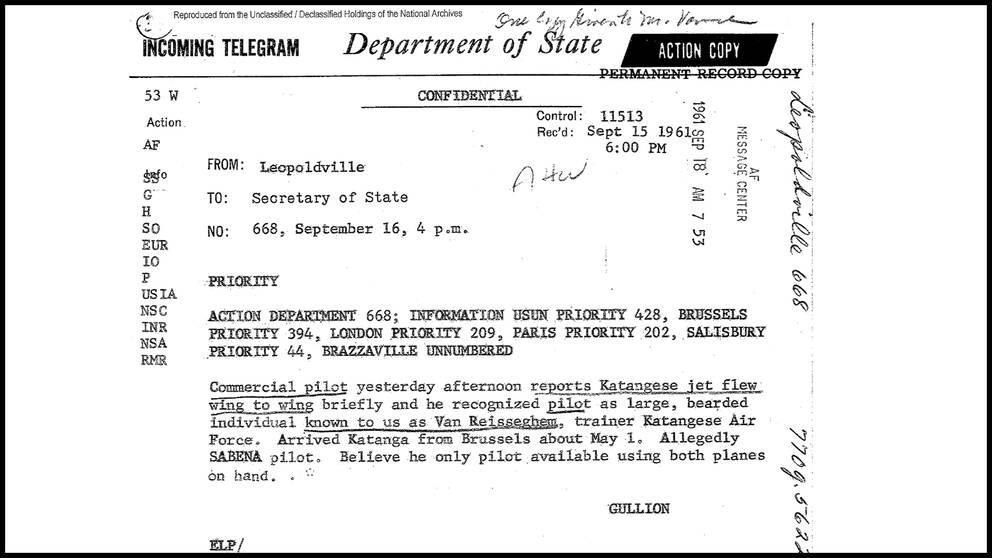 Telexmeddelande som amerikanska myndigheter släppte 2014