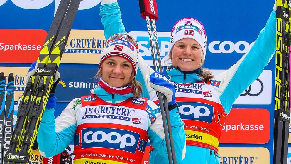 The Norwegians Maiken Caspersen Falla and Mari Eide.
