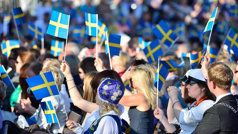 Nationaldagen firas på Skansen med svenska flaggor