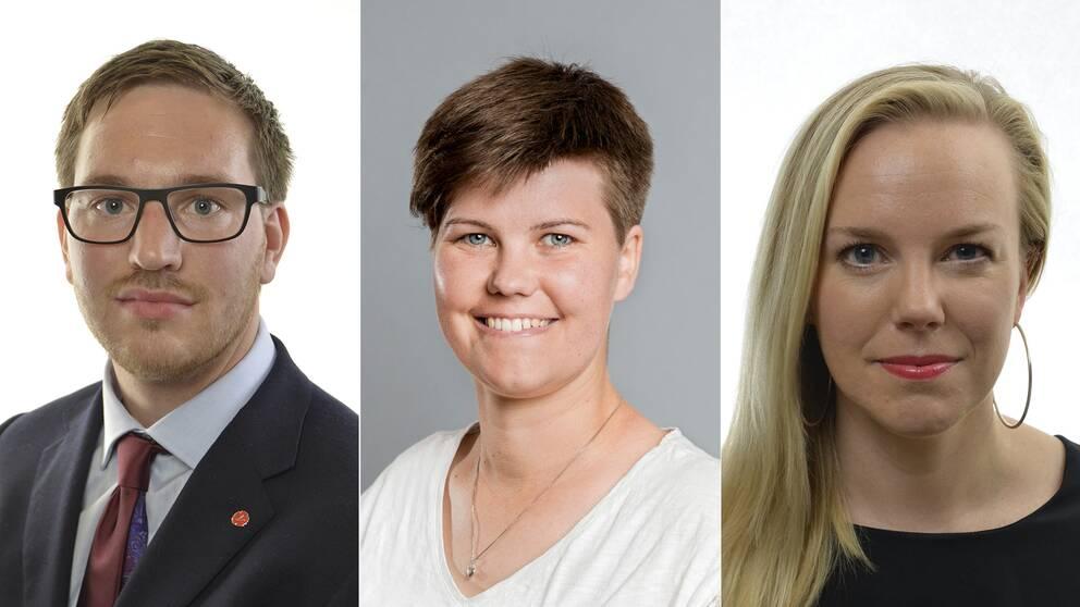 Riksdagsledamöterna från Vänsterpartiet Håkan Svenneling, Hanna Gunnarsson och Linda Snecker